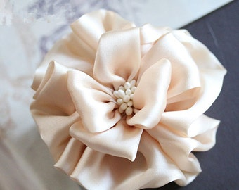 Larger Handmade Silk Flower Fabric Flower Fabric Rose (3-3/4 inches) In Petal Peach MY-439-01 Ready To Ship