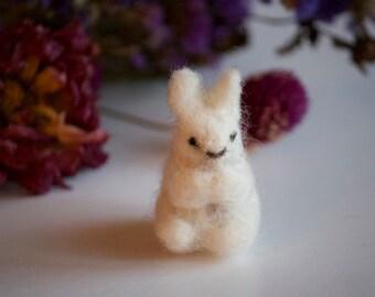 Mini Felted White Rabbit, natural wool needle felted rabbit, soft sculpture, animal, woodland, decor, toy