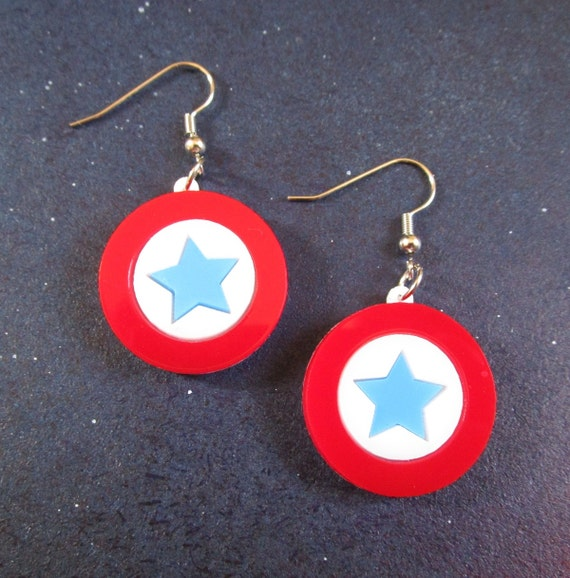 captain america earrings captain america mini shield dangle earrings usa steve rogers 6213