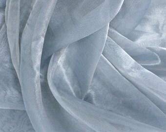 Silk metallic organza fabric in ice blue and silver