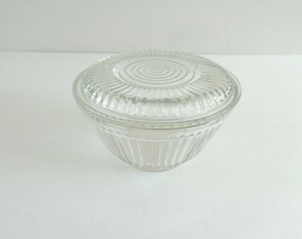 Clear Depression Glass Bowl with Cover