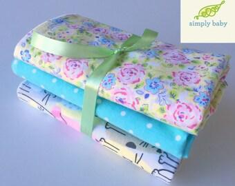 Baby Girl Receiving/Swaddle Blanket Set of 3