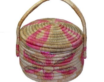 Vintage Handcrafted Basket Made by Guatemalan Woman 1930-60s