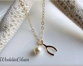 Gold wishbone necklace, 14k gold necklace, Swarovski single pearl necklace, Minimalist jewelry, Delicate necklace Bridesmaid simple necklace