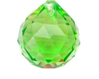 30mm Spring Green Faceted Ball Chandelier Crystal Prism Suncatcher
