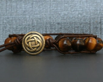 tiger eye on dark brown leather single wrap bracelet- mens wrap bracelet - womens jewelry