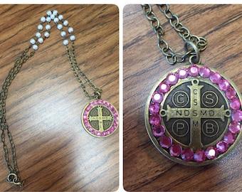 "Pink Swarvoski crystal 28"" necklace."