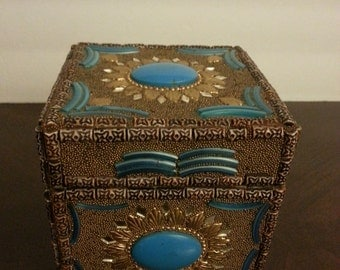 Jewelry or Trinket Box with Aztec Blue Colored Accents
