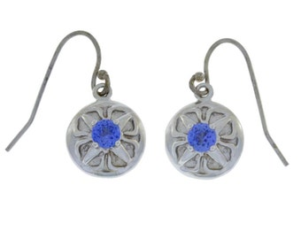 Tanzanite Round Dangle Earrings .925 Sterling Silver