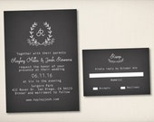 Wedding Invitation, Rustic Whimsical Chalkboard, Modern Rustic Invitation, Printable Invitation, Rustic Blackboard, Cheap Invitation (WI55)