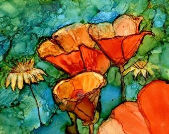 Trivet- Art Tile - Dye Sublimation Imprint of Alcohol Ink painting on Ceramic Tile - 6x6 Tile- Orange Poppies