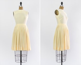 vintage 1950s yellow dress | 50s summer day dress