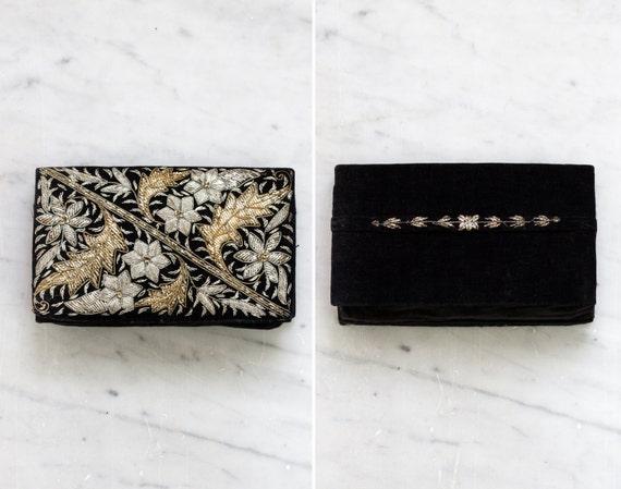 vintage 1950s black and gold floral clutch purse | 50s velvet clutch