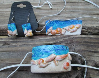Sea shells on the beach, blue ocean waves, matching polymer clay set, necklace, earrings, cuff bracelet, sculpted, hand painted
