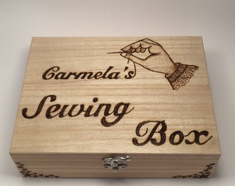 Personalised Wooden Sewing Box with Sewing Kit Mothers Day Gift