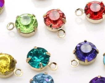 12 pcs of rhinestone 6mm with brass setting antique bronze one loop charm-1161-mix color with gold setting