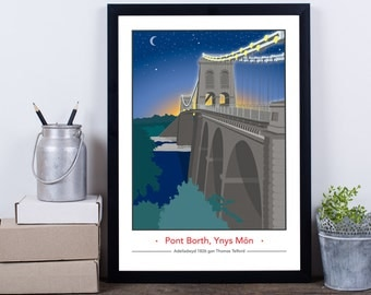 Menai Bridge, Isle of Anglesey Night Time - english or welsh available!