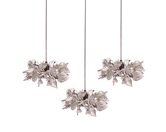 Triple Pendant Chandelier ceiling lighting -Clear flowers and leaves pendant for Kitchen Island, Dinning Room.