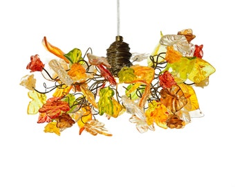 Ceiling light with warm color flowers and leaves for living rooms, Kitchen island, bedroom.