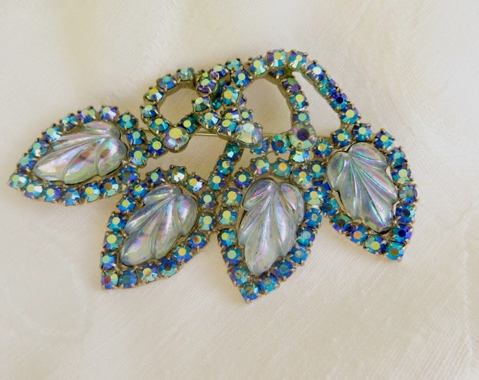 Hobe Aurora Borealis Brooch, Molded Glass Pin, Hobe Jewelry, Designer Signed Brooch