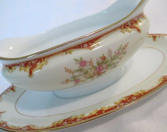 Vintage Noritake China Oval Gravy Boat with Attached Underplate