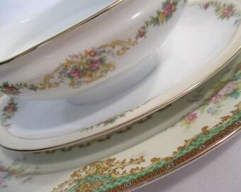 Vintage Mismatched China Serving Dishes, Serving Platter, Gravy Boat - Set of 2