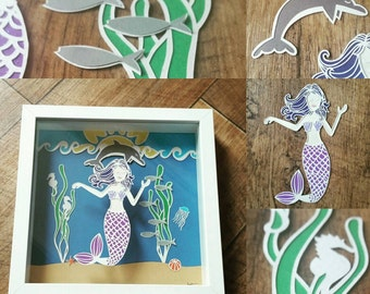 Under the sea handcut papercut in a floating frame