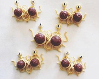 Handmade Flying Spaghetti Monster Earrings - polymer clay jewelry, pastafarian, fsm, flying spaghetti, spaghetti monster, food jewelry