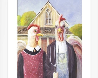 Chicken Painting/ Rooster and Hen/ whimsical animals/ Chickens/ Birds