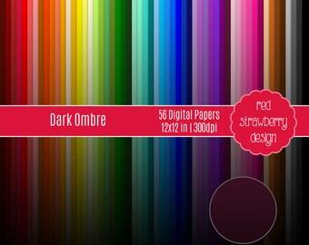 75% OFF Sale - 56 Digital Papers - Dark Ombre - Instant Download - JPG 12x12 (DP279)