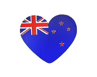 New Zealand Flag Heart Embroidery Design