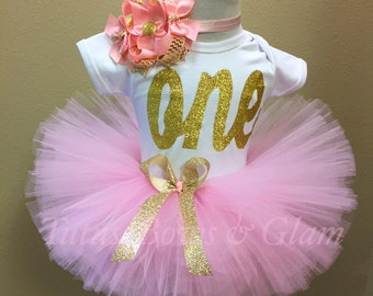 ONE pink and gold tutu set