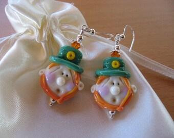 Leprechaun Earrings, St. Patrick's Day Earrings, Lampwork Earrings, Irish Fairy, Ireland, Irish Folklore, Handmade Lampwork Beads, Green