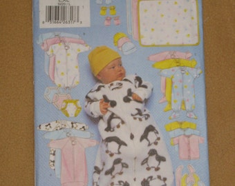Uncut Pattern - Butterick 5220 - Infant bunting, jumpsuit, shirt, diaper cover, hat, bib, mittens, booties and blanket