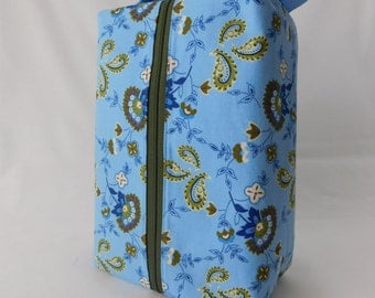 SALE Blue and Green Floral Large Zippered Box Tote - knitting / crochet / spinning project bag