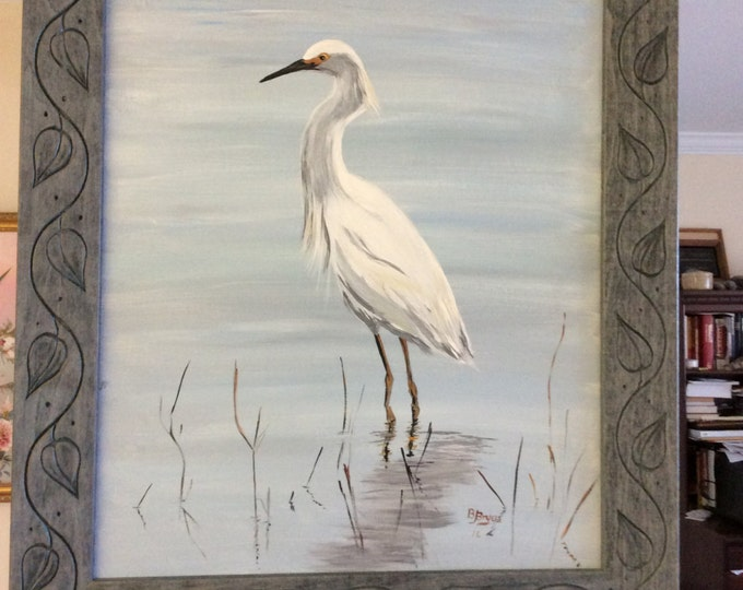 Egret wading in the Water - Acrylic on canvas