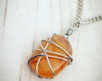 Wire Wrapped Necklace ~ Wire Wrapped Pendant ~ Silver Necklace ~ Wire Wrap Necklace ~ Wire Weap Pendant ~ Pendant Necklace ~ Gemstone