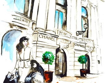 Shopping in Paris Art Print from Watercolor Painting - Chanel Girl Fashion Illustration by Lana Moes - Chanel Love
