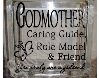 DIY Decal for Glass Blocks - Godmother Caring Guide - Inspirational Vinyl Decal