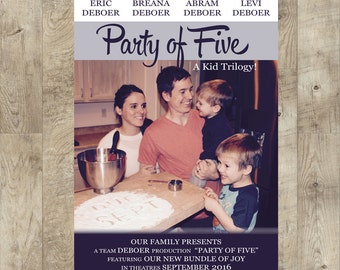 Pregnancy Announcement, Movie Poster Announcement, Party of Five Announcement