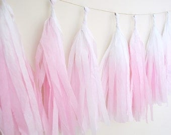 Pink Watercolor Dip Dyed Tissue Tassel Garland - One Stylish Party