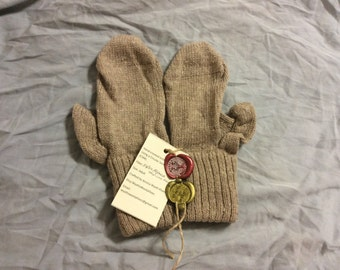 Hand cranked-knitted Alpaca Mittens