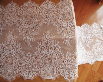 chantilly lace trim, ivory eyelash lace trim, bridal lace trim