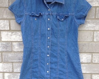 90s cute denim mini short dress