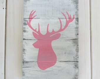 Reclaimed Barn Pallet Wood Sign Deer Buck Head Pink Gray White Wall Decor Baby Girl Nursery Distressed Shabby Chic Rustic Hand Painted