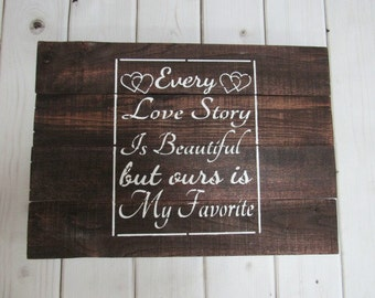 Reclaimed Wood Pallet Barn Sign Love Story White Wall Wedding Anniversary Room Distressed Shabby Chic Rustic Hand Painted