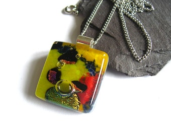 Yellow and red dichroic fused glass pendant, sparkling necklace, purple gift for her, NL501, Mothers Day, Square statement dressy necklace