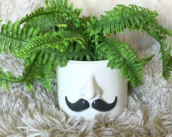 Reserved Vintage mustache mousyache nose white cookie jar canister planter