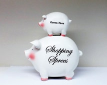 SALE Large Piggy Bank White Ceramic Shopping Sprees Green Fees Coin Bank Great Gift Idea
