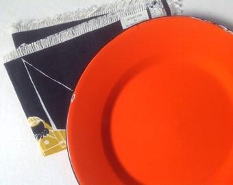 Orange Enamel Plate, Bright Serving Piece